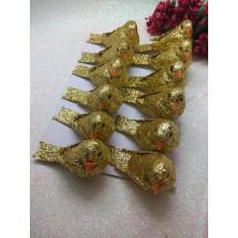 Птички декоративные с блестками 5*2,5 см, цв. золото, цена за 1 шт