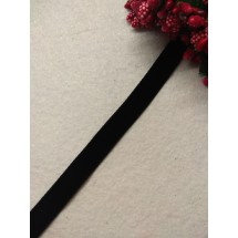 Лента бархатная 1 см, цв. черный, цена за 1 м