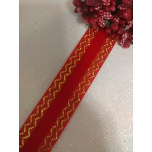 Лента бархатная с золотым люрексом 2,5 см красная 45, цена за 1 м
