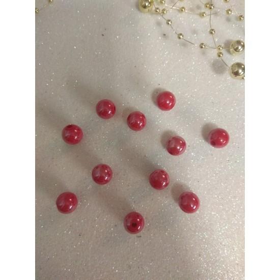 Бусины акрил глянцевые d=10 мм красные 73, цена за 20 гр