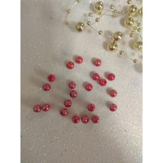 Бусины акрил глянцевые d=6 мм красные 73, цена за 20 гр