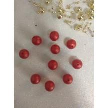Бусины матовые d=12 мм красные 36, цена за 20 гр