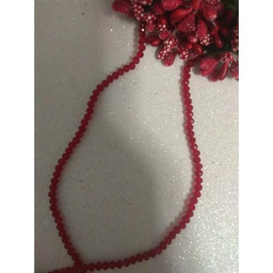 Бусины на леске стеклянные матовые граненые d 3 мм красный 38, цена за 50 шт