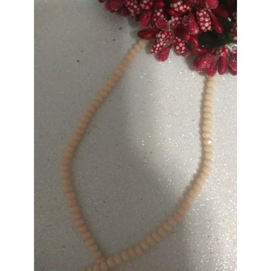 Бусины на леске стеклянные матовые граненые d 3 мм персиковые 105, цена за 50 шт