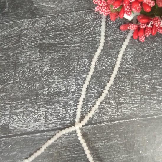 Бусины на леске стеклянные матовые граненые d 3 мм белые 101, цена за 50 шт