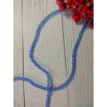 Бусины на леске стеклянные граненые d=3 мм светло-голубой 16, цена за 50 шт