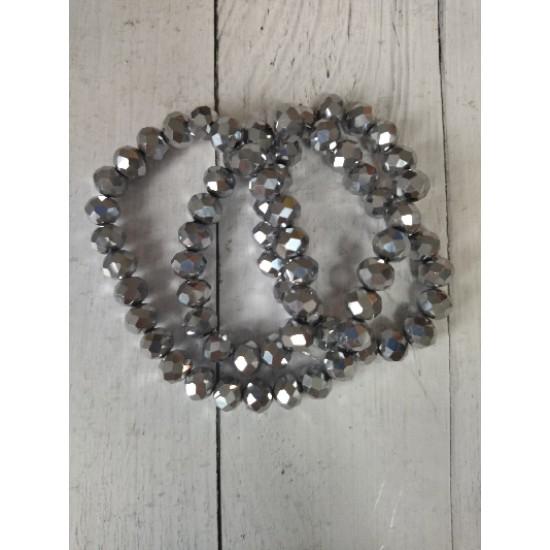 Бусины стеклянные 6 мм цв. серебро, цена за 25 шт