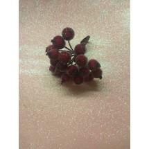 Ягодки сахарные на проволоке 12 мм цв. бордовый, цена за 20 ягодок