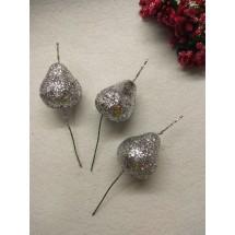 Муляж декоративный груша на веточке с блестками, серебро,  цена за 1 шт