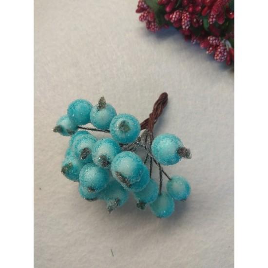 """Ягодки """"в сахаре"""" на проволоке 10 мм цв. светло-голубой, цена за 20 ягодок"""