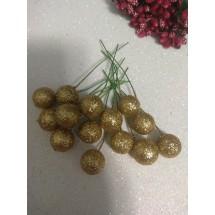 ОПТ Муляж вишни на черешке 1,5 см 50 шт золотой глиттер