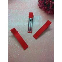 Заколка-основа в репсовой обтяжке 5 см красный, цена за 1 шт