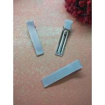 Заколка-основа в репсовой обтяжке 5 см белый, цена за 1 шт