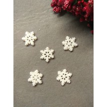 "Кабошон ""Снежинка с блестками маленькая"" 19 мм, цена за 1 шт"