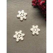 """Кабошон """"Снежинка с блестками большая"""" 28 мм, цена за 1 шт"""