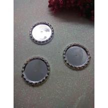 Рамки для кабошонов пластик (размер внутри 25мм) серебро, цена за 1 шт