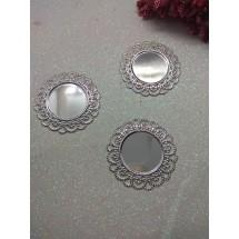 Рамки для кабашонов металл(раз. внутри 25мм) серебро, цена за 1 шт