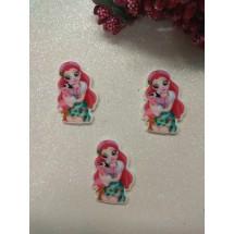 "Кабошон-вырубка ""Девочка, фламинго"" 35*24 мм, цена за 1 шт"