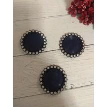 Крышечка-серединка со стразами , цв. темно-синий, цена за 1 шт