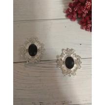 Серединка ювелирная 3*3,3 см серебро/черный, цена за 1 шт