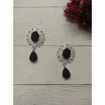 Серединка ювелирная с подвеской 2,5*4,5 см серебро/черный, цена за 1 шт