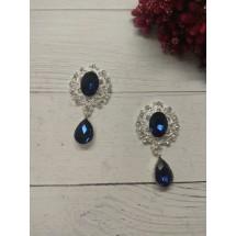 Серединка ювелирная с подвеской 2,5*4,5 см серебро/темно-синий, цена за 1 шт