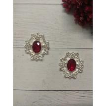 Серединка ювелирная 3*3,3 см серебро/темно-красный, цена за 1 шт