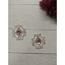 Серединка ювелирная 3*3,3 см серебро/розовый, цена за 1 шт