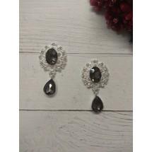 Серединка ювелирная с подвеской 2,5*4,5 см серебро/графитовый, цена за 1 шт