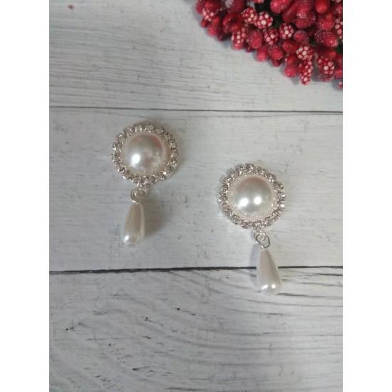Серединка ювелирная с подвеской 2 см*4,2 см серебро/белый, цена за 1 шт