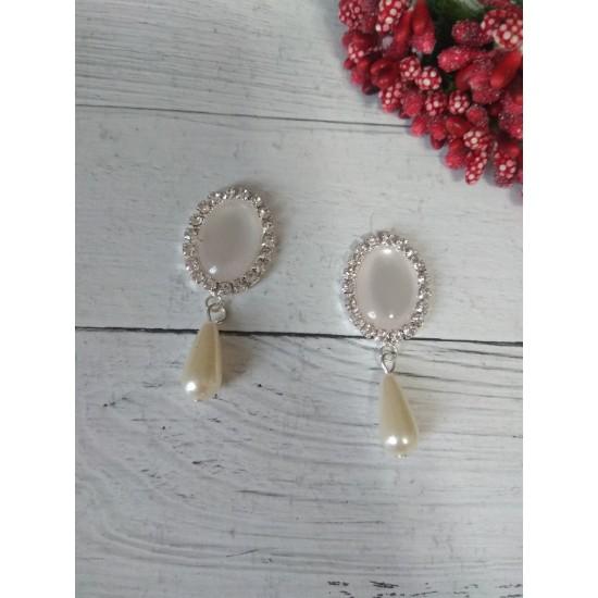 Серединка ювелирная с подвеской серебро/белый, цена за 1 шт