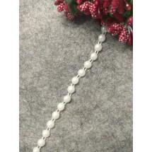 Бусы декор. кант на нитке (бел.) 6 мм, цена  за 1 м