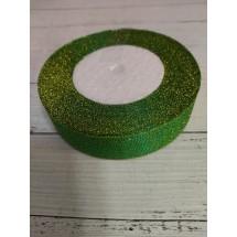 Лента парча 25 мм цв. зеленый