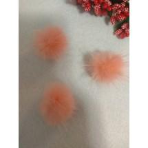 Помпоны меховые 3 см, натуральные , розовый персик, цена за 1 шт