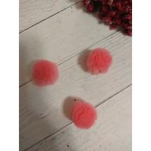 Помпоны из фатина 2,5 см цв. коралловый, цена за 1 шт