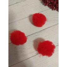 Помпоны из фатина 3,5 см цв. красный, цена за 1 шт