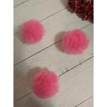 Помпоны из фатина 3,5 см цв. ярко-розовый, цена за 1 шт