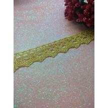 Кружево вязаное(люрекс)цв.золото 17мм, цена за 1 м