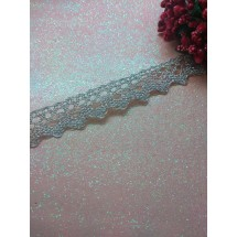 Кружево вязаное(люрекс)цв.серебро 17мм, цена за 1 м