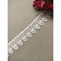 Кружево вязаное (полиэстер) 2,5 см, цв. белый, цена за 1 м
