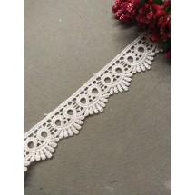 Кружево вязаное (полиэстер) 2,8 см, цв. белый, цена за 1 м