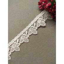 Кружево вязаное (полиэстер) 3,1 см, цв. белый, цена за 1 м
