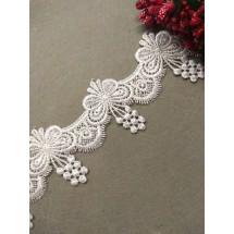 Кружево вязаное (полиэстер) 5,5 см, цв. белый, цена за 1 м