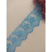 Кружево на органзе 4 см цв. голубой, цена за 1 м