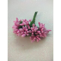 Тычинки на проволоке в пучках (12 шт), цв. розовый,  цена за пучок