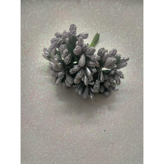 Тычинки на проволоке в пучках (12 шт), цв. серебро,  цена за пучок