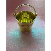 Ведро декоративное (пластик) хром-золото 5см х 5,5см, цена за 1 шт