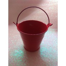 Ведро декоративное (металл)красное 6,5см х 6,7см, цена за 1 шт