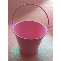 Ведро декоративное (металл)розовое 7см х 7,7см, цена за 1 шт