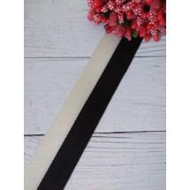 Лента жаккард PREMIUM 25мм цв. черный, цена за 1 м